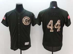 2016 MLB Chicago Cubs 44 Rizzo Green Salute to Service Stitched Baseball Jersey