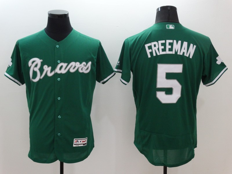 2016 MLB FLEXBASE Atlanta Braves 5 Freddie Freeman Green Jerseys