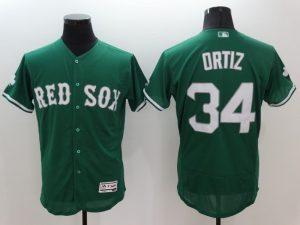 2016 MLB FLEXBASE Boston Red Sox 34 David Ortiz Green Jerseys