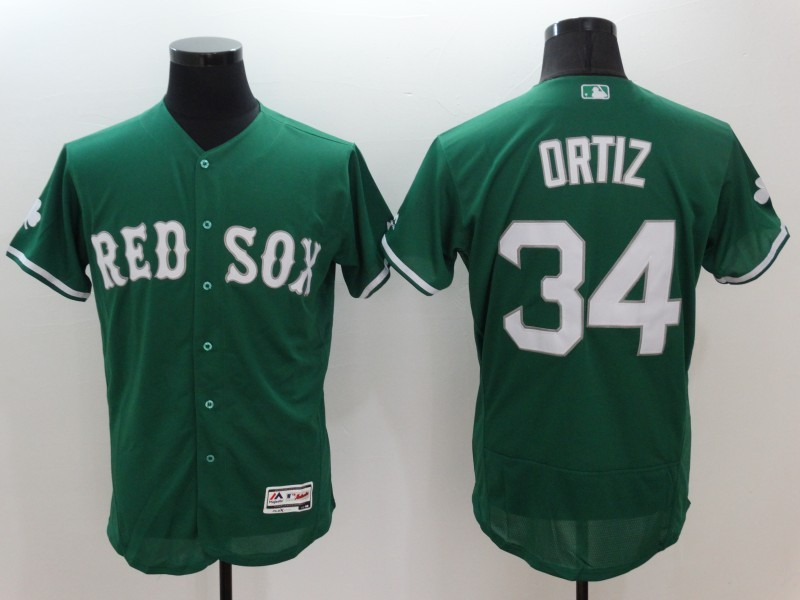 2016 MLB FLEXBASE Boston Red Sox 34 David Ortiz Green Jerseys