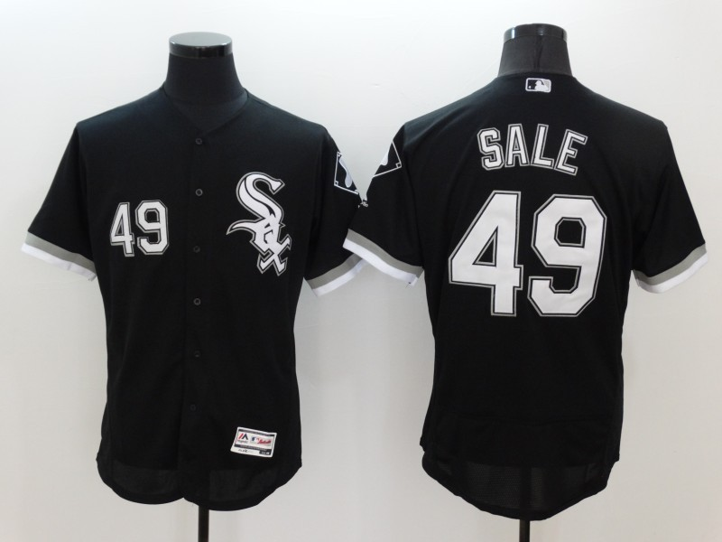 2016 MLB FLEXBASE Chicago White Sox 49 Chris Sale Black Jerseys