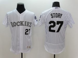 2016 MLB FLEXBASE Colorado Rockies 27 Story White Jersey
