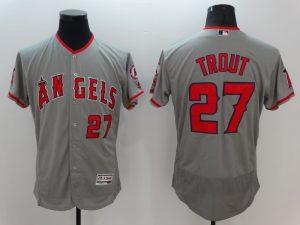 2016 MLB FLEXBASE Los Angeles Angels 27 Trout Grey Jerseys