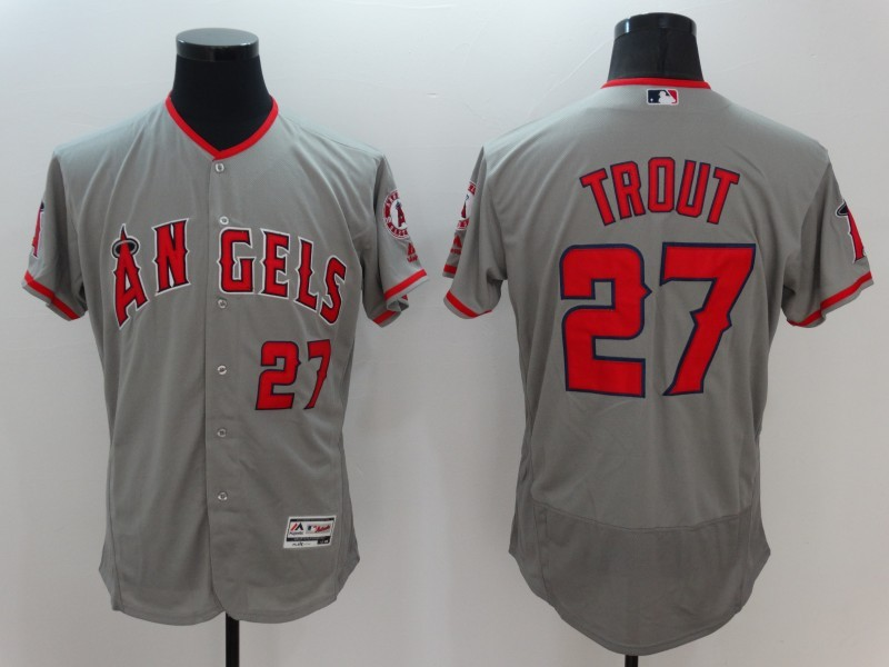 2016 MLB FLEXBASE Los Angeles Angels 27 Trout Grey Jerseys