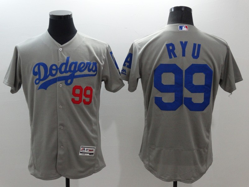 2016 MLB FLEXBASE Los Angeles Dodgers 99 Ryu grey jerseys
