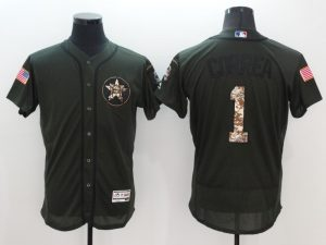 2016 MLB Houston Astros 1 Carlos Correa Green Salute to Service Stitched Baseball Jersey