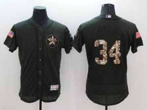 2016 MLB Houston Astros 34 Nolan Ryan Green Salute to Service Stitched Baseball Jersey