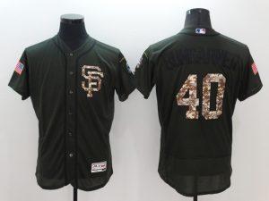 2016 MLB San Francisco Giants 40 Bumgarner Green Salute to Service Stitched Baseball Jersey