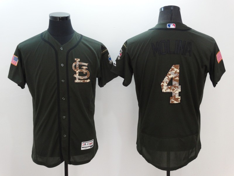 2016 MLB St. Louis Cardinals 4 Yadier Molina Green Salute to Service Stitched Baseball Jersey