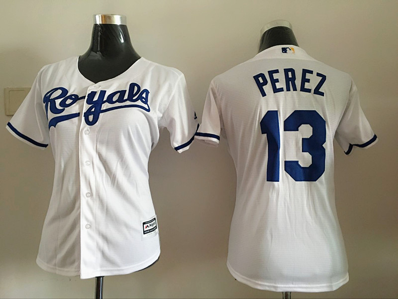 2016 MLB Womens Los Angeles Dodgers 13 Perez White Jersey