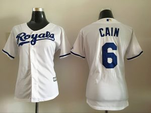 2016 MLB Womens Los Angeles Dodgers 6 Cain White Jersey