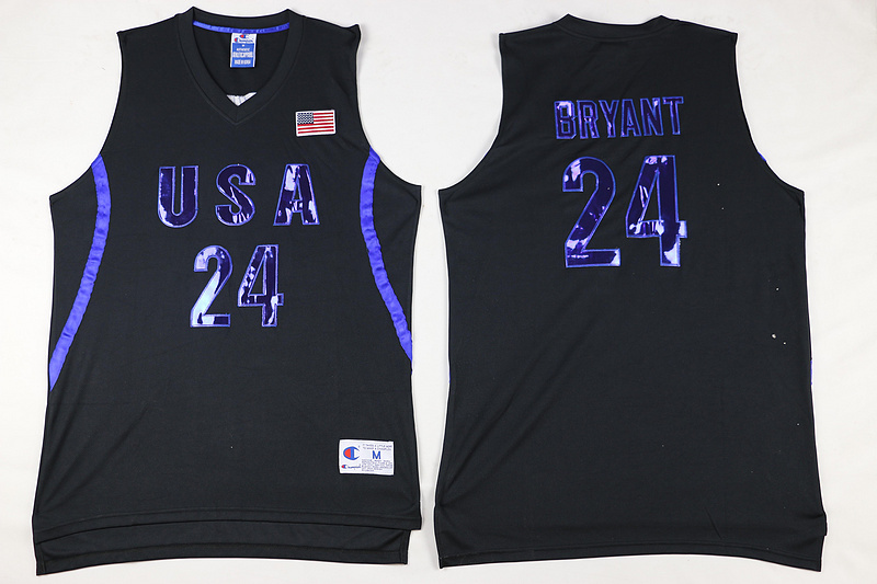 2016 NBA 24 Bryant Dream Team USA Black Jersey