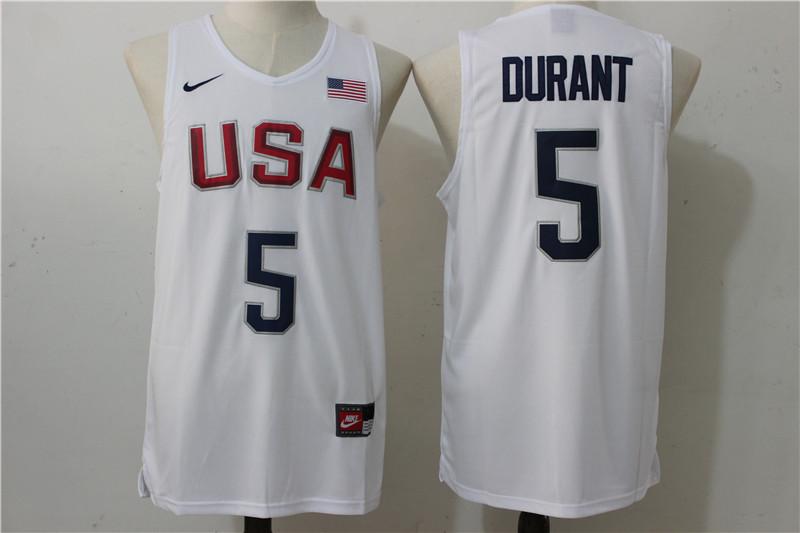 2016 NBA 5 Durant Dream Team USA white jersey