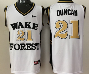 2016 NBA NCAA Wake Forest Demon Deacons 21 Duncan White Jerseys
