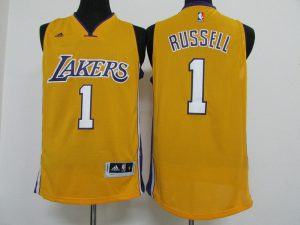 2016 NBA los Angeles Lakers 1 Russell yellow jerseys