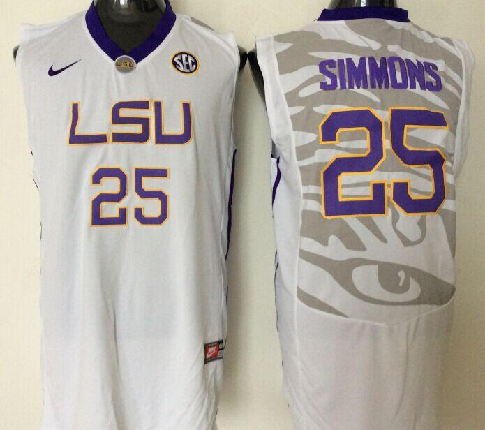 2016 NCAA LSU Tigers 25 Simmons White Jerseys