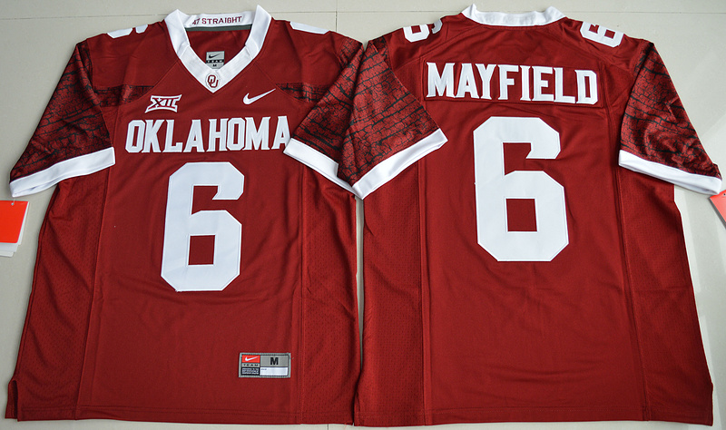 2016 NCAA Oklahoma Sooners 6 Baker Mayfield Crimson College Limited Football Jersey