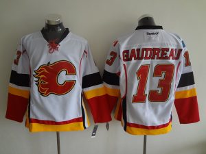 2016 NHL Calgary Flames 13 Gaudreau White Jerseys