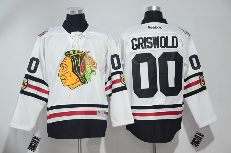2016 NHL Chicago Blackhawks 00 Griswold White Jerseys