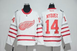 2016 NHL Detroit Red Wings 14 Nyquist White Jerseys