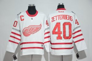 2016 NHL Detroit Red Wings 40 Zetterberg White Jerseys