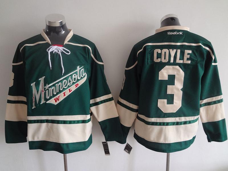 2016 NHL Minnesota Wild 3 Coyle Green Jerseys
