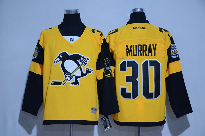 2016 NHL Pittsburgh Penguins 30 Murray Yellow Jerseys
