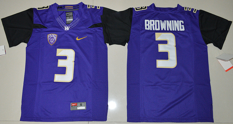 2016 Youth NCAA Washington Huskies 3 Jake Browning Purple College Football Limited Jersey