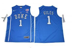 2017 Duke Blue Devils Harry Giles 1 V Neck College Basketball Elite Blue Jersey