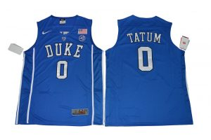 2017 Duke Blue Devils Jayson Tatum 0 V Neck College Basketball Authentic Blue Jersey