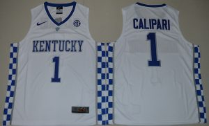 2017 Kentucky Wildcats Coach John Calipari 1 College Basketball Hype Elite White Jersey