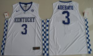2017 Kentucky Wildcats Edrice Adebayo 3 College Basketball Hype Elite White Jersey