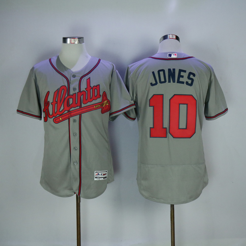 2017 MLB Atlanta Braves 10 Jones Grey Elite Jerseys