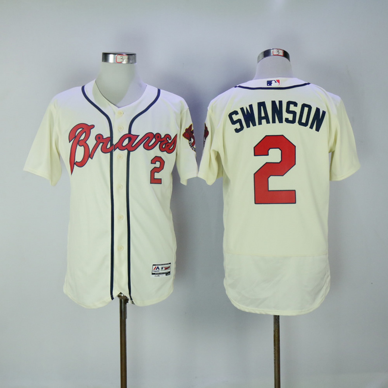 2017 MLB Atlanta Braves 2 Swanson Gream Elite Jerseys