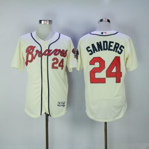 2017 MLB Atlanta Braves 24 Sanders Gream Elite Jerseys