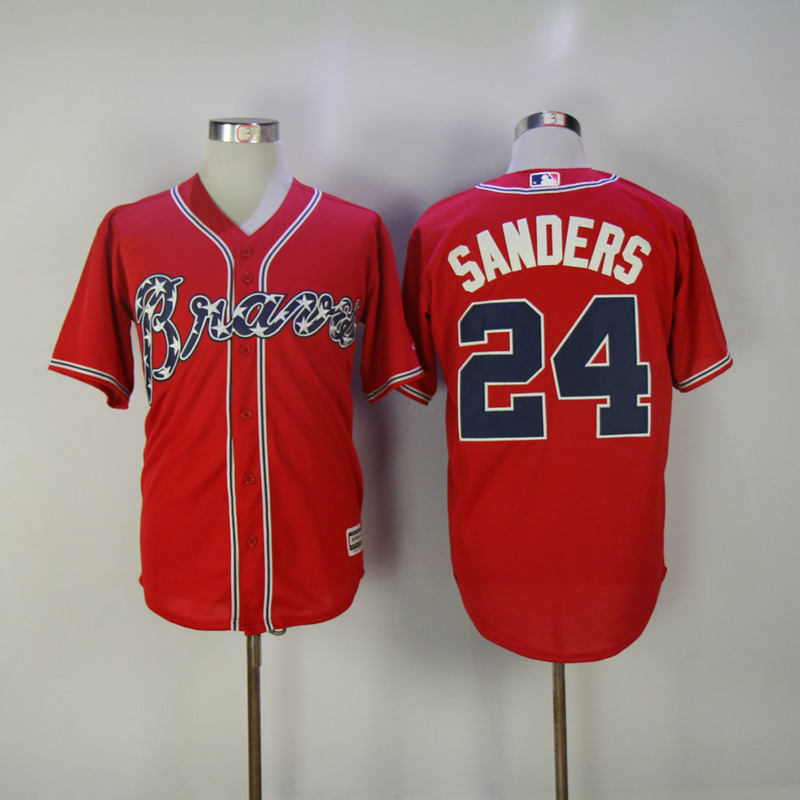 2017 MLB Atlanta Braves 24 Sanders Red Game Jerseys