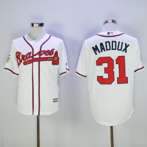2017 MLB Atlanta Braves 31 Maddux White Game 75th Throwback Jerseys
