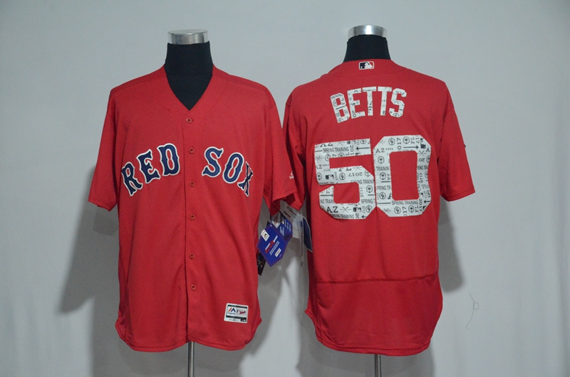 2017 MLB Boston Red Sox 50 Betts Red Spring Training Flex Base Jersey