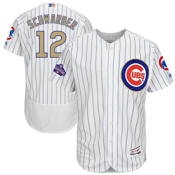 2017 MLB Chicago Cubs 12 Schwarber CUBS White Gold Program Elite Jersey