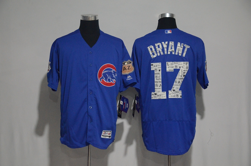 2017 MLB Chicago Cubs 17 Bryant Blue Spring Training Flex Base Jersey