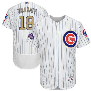 2017 MLB Chicago Cubs 18 Zobrist CUBS White Gold Program Elite Jersey