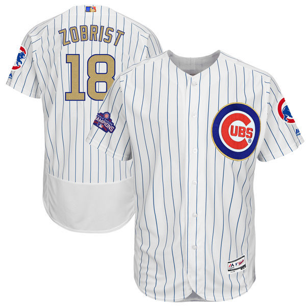 2017 MLB Chicago Cubs 18 Zobrist CUBS White Gold Program Elite Jersey