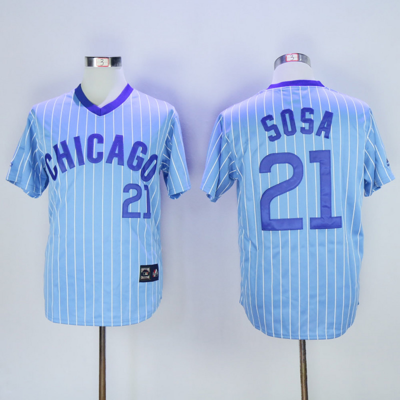2017 MLB Chicago Cubs 21 Sosa Blue White stripe Throwback Jerseys