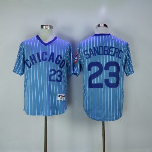 2017 MLB Chicago Cubs 23 Sandberg 1984 Blue White stripe Throwback Jerseys