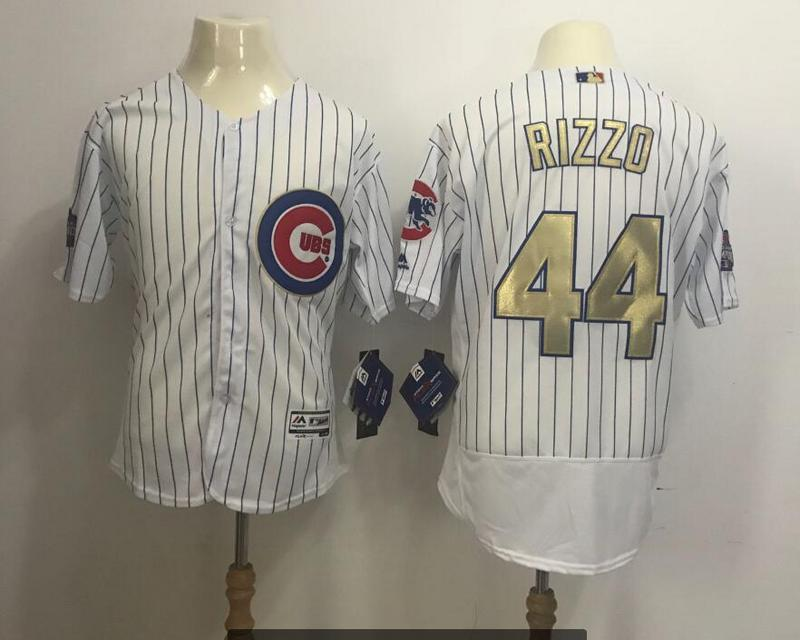 2017 MLB Chicago Cubs 44 Rizzo CUBS White Gold Program Elite Jersey
