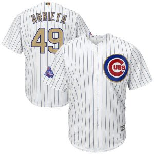 2017 MLB Chicago Cubs 49 Arrieta CUBS White Gold Program Game Jersey