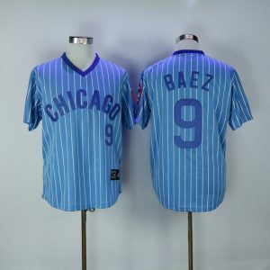2017 MLB Chicago Cubs 9 Baez Blue White stripe Throwback Jerseys