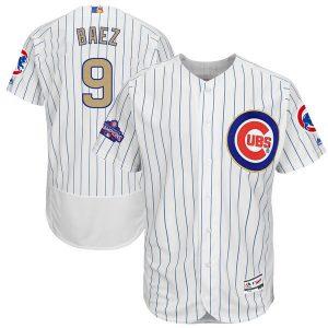 2017 MLB Chicago Cubs 9 Baez CUBS White Gold Program Elite Jersey