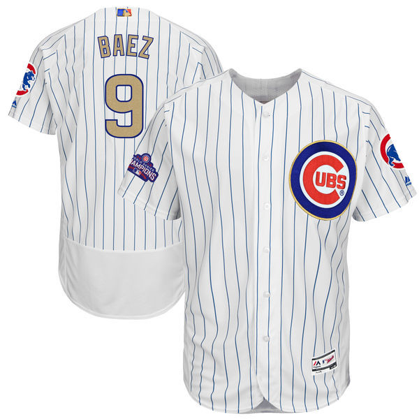 2017 MLB Chicago Cubs 9 Baez CUBS White Gold Program Elite Jersey