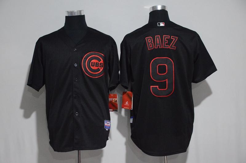 2017 MLB Chicago Cubs 9 Baez black jerseys